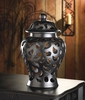 Ceramic Jar with Lid   Paisley-Shaped Cutouts Design