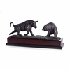 Charging Bull and Bear Bronzed Metal Sculpure on Burlwood Base