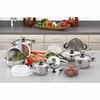 """Chef's Secret® 22pc 12-Element Super Set with High-Quality Stainless Steel and Extra Large 11"""" Frypan"""