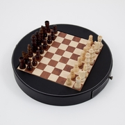 Chess Set in Wood with Black Leather Case