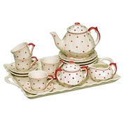 Child Tea Set with Tray Red Polka Dot  18pc
