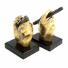Cigar Bookends Antique Brass Finish on Wood Base