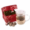 Clear Glass Tea Mug with Infuser  in Red Fabric Gift Box