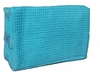 Cotton Waffle Cosmetic Bag, Large, Tropical Blue