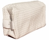Cotton Waffle Cosmetic Bag, Small, White
