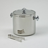 """Covered Ice Bucket with Tongs  Stainless Steel  6.5""""h"""