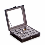 Cufflink Case Black Leather  Holds  20pr Cufflinks