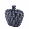 "Deep Blue Small Lip Stoneware Vase  9.5""h"
