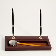 Double Pen Stand, Tan Leather