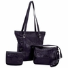 Embassy™ Black Leather 3pc Purse Set with Crocodile Embossing