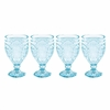 Fitz & Floyd Trestle Goblet Glass Aqua  4/set