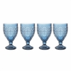 Fitz & Floyd Trestle Goblet Glass Indigo  4/set