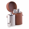 Flask Bar Set in Brown Leather Carrying Case  6pc