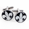Fleur de Lis Design Rhodium Plated Cufflinks