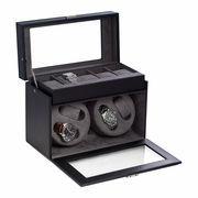 Four Watch Winder with 5 Watch Case   Black Leather