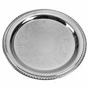 "Gadroon Silverplated Tray with Embossed Center 12"" Dia"