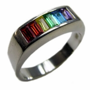 Gay Pride Baguette CZ Stone Squared Band Rhodium Plated Ring