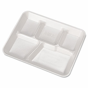 Genpak®  Five Compartment  Foam School Trays  (500/case)