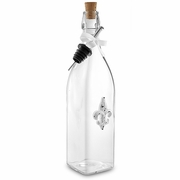 Glass Bottle with White Fleur De Lis  32oz.
