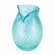 "Glass Owl Vase  Aqua  8.25""h"