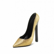 Wine Bottle Holder  Glittering Gold Shoe