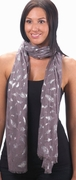 Gray Foil Feathers Pattern Scarf   FREE SHIPPING