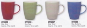HIC Solid Color  Stoneware Coffee Mug Set  4pc.