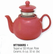 HIC Teapot Ceramic with Stainless Steel Infuser Rose 6 cup