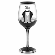 HIS  Hand-Painted Wine Glass