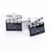 Hollywood Slate Board Clapper Design Rhodium Plated Cufflinks
