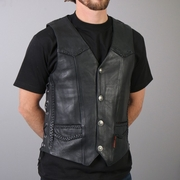 Hot Leathers Heavy Weight Leather Vest with Braided Detail