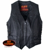 Hot Leathers Ladies Black Leather Vest with Braiding Detail
