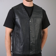 Hot Leathers Men's Leather Side Lace-up Vest with 2 Gun Pockets