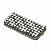 Houndstooth Zippered  Wallet Clutch