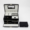 Jewelry Case Multi-Level with Travel Box Black Leather