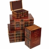 Kassel� 4pc Decorative Storage Trunk Set Antique Books Design