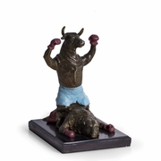 Knock-Out Bull Statue Bronze