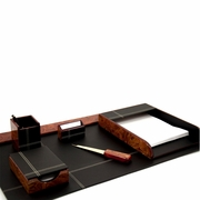 Leather and Wood Desk Set with Brass Accents 6pc.
