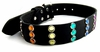 Leather Pet Collar With Rainbow Jewels  Large 17-22in