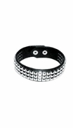 """Leather Studded Latigo Armband or Collar with Snaps 1-1/4""""w  LARGE  16-17in"""