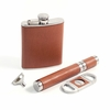 Leather Wrapped Flask, Cigar Case, and Cutter Set