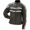 Live-Ride-Rock� Ladies' Solid Genuine Leather Jacket with Cream Stripes