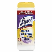 Lysol® Brand Dual Action™ Disinfecting Wipes  Citrus Scent 12/cs