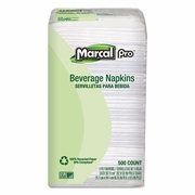 Marcal  100% Recycled Beverage Napkins, 1-Ply, 9 3/4 x 9 1/2, White, 4000/Carton
