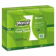 Marcal Pro 100% Recycled Convenience Pack Facial Tissue, White, 80/Box, 6 Boxes/Pack