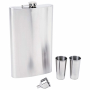 """Maxam® 4pc Stainless Steel 64oz  Flask Set with  """"Giant Shot"""""""
