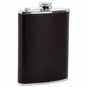Maxam ® Flask with Faux Leather Black Wrap  Stainless Steel   8oz.