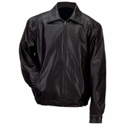 Men's  Bomber Style Jacket  Black Solid Genuine Leather