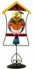 Metal Multicolor Bird in Cage Clock with Removable Stand