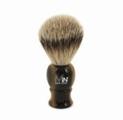 MiN New York Silver Tip Badger w/ Horn Handle Shave Brush